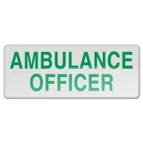Reflective Sew-On Badge - AMBULANCE OFFICER