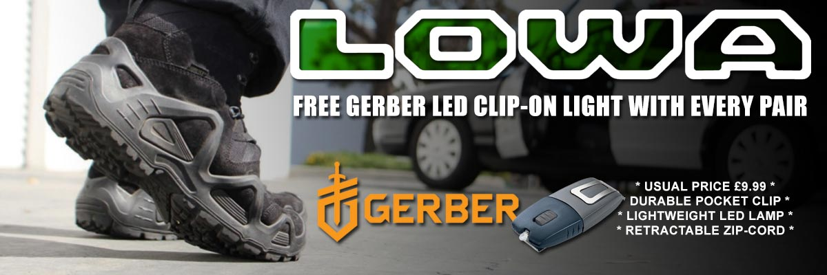 Free Gerber Torch with Lowa boots