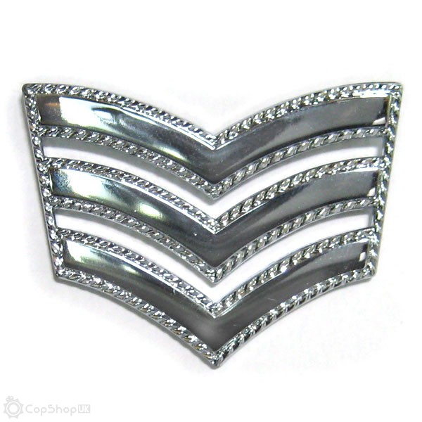 Chrome Plated Police Triple Chevron - Roped Edge