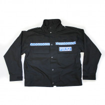 Police Waterproof Black Jacket - Checked Strip - Unissued Surplus