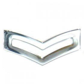 Chrome Plated Police Double Chevron - Plain Edge