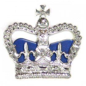 Chrome Plated Police Crown - Blue Cushion
