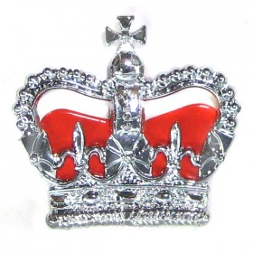 Chrome Plated Police Crown - Red Cushion