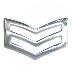 Chrome Plated Police Triple Chevron - Plain Edge